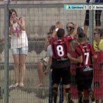 L'esultanaza di Comegna subito dopo il gol dell'1-1-