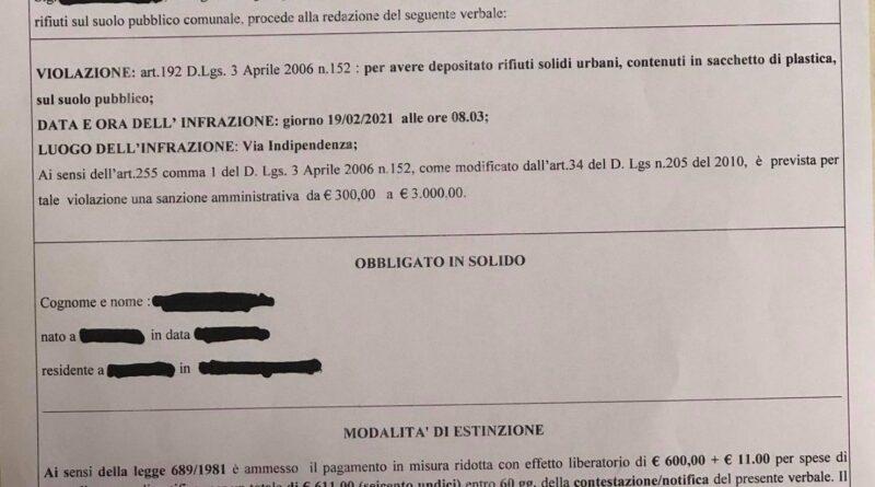 RACALMUTO – Beccato dalla Polizia Municipale sporcaccione incivile